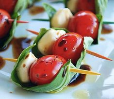 Caprese Skewers: If you have four basic ingredients and some toothpicks, you have what it takes to make these smart, simple appetizers. Start your next meal with them, and you'll forget you're not on an Italian vacation.