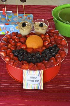 Elmo Fruit Dip, 1st Birthday Party