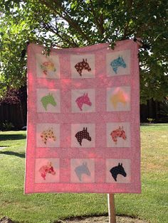 Pretty Pink Ponies quilt for young girl
