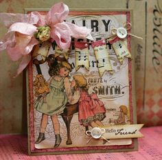 Vintage Hello Friend Handmade Card