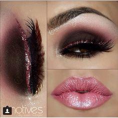 Maquillaje ahumado y delineado rosa