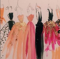 pink and black gowns painting