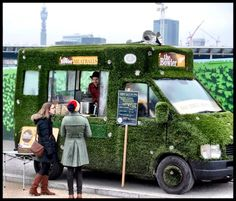 Grass-covered London meatball truck The Bowler. #foodtrucks