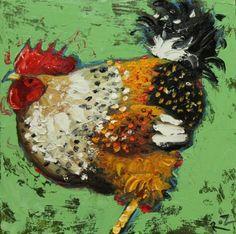 Drunken Cows - Whimsical Fine Art by Roz 12x12 original FANTASTIC painting