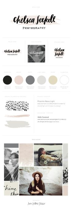 Muted tones, greys and soft pink branding style guide.