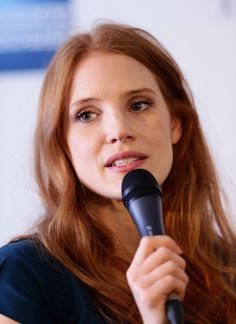 Actress Jessica Chastain makes a speech about her career to students at The American Pavilion at the 67th Annual Cannes Film Festival on May 20, 2014 in Cannes, France.