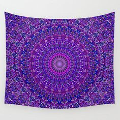 Lace Mandala in Purple and Blue Wall Tapestry by Mandala Magic by David Zydd - Small: x Purple Tapestry, Mandala Tapestry, Red Headboard, Purple Hands, Modern Bedroom Decor, Tapestry Design, Tapestry Wall Hanging, Tapestry Bedroom, Flower Mandala