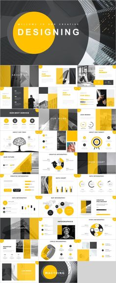 This yellow PowerPoint template come with flat yellow design, clean, minimalist, modern presentation, fit for corporate office Simple Powerpoint Templates, Template Web, Professional Powerpoint Templates, Keynote Template, Report Template, Flyer Template, Graphisches Design, Slide Design, Design Trends