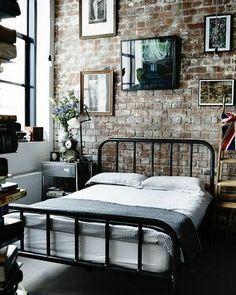 #brick #bedroom #industrial #home #homeinteriordetails #architecture #homesweethome #interiordetails #homeinterior #homedesign #house #homedecor #interiordesign #decor #interiordecor #dreamhome #design #dreamhouse #luxuryhomes #decor #luxurylife #luxury #interior #details #rusticfeel #rustic #windowview #detail by house.interior.design