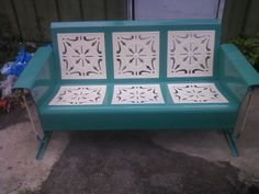 Charming Teal Restored And Powdercoated Starburst Pattern Vintage Porch Glider.  Www.retrovintagepatio.com