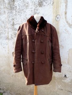 "HK$2400 shipped - Jul16 C=47"" L=38"" Vintage 1930 /1950 French Canadienne Parka Jacket Worker Sheepskin Mackinaw 