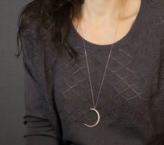 Long Pendant Necklace with Moon Slice // Long Silver Necklace // Rose Gold, Gold or Silver // Large Pendant Moon on Long Chain on Etsy, $31.00