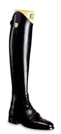 ANNA  Tall boot in black leather with front elastic laces and crystals.