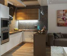 Интересный дизайн кухни-гостиной