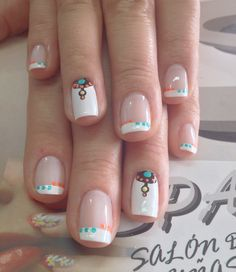 Uñas Little Girl Nails, Girls Nails, Nail Art Diy, Diy Nails, Tribal Nails, Crazy Nails, Nail Patterns, Cute Nail Designs, White Nails