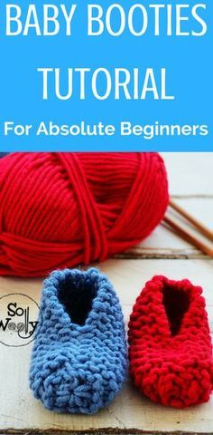 This is the easiest pattern you will ever find that shows you how anyone can knit baby booties! #babybooties #learntoknit #knittingpatterns #knittingtutorials #freepattern #sowoolly