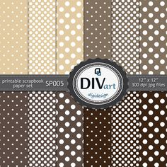 Printable scrapbook paper set for cards, invitations, stationary, albums - polkadot - beige, bown, coffee, chocolate by DIVart on Etsy
