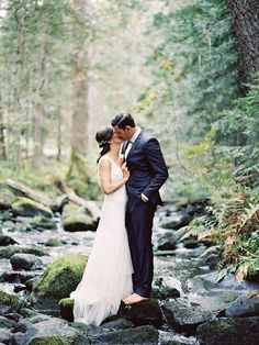 forest wedding inspiration / posing bride and groom / couple session / fine art film wedding photography
