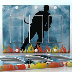 DIY Do It Yourself Home Decor - Easy to apply wall plate wraps | Fire on Ice  Hockey player silhouette on ice background with flames  wallplate skin sticker for 3 Gang Decora LightSwitch | On SALE now only $5.95