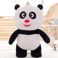 Smiling panda plush toys for girls 3D animal decorative pillows