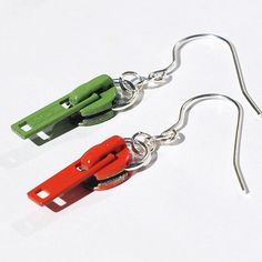 Found Object Jewelry- Upcycled Orange and Green Zipper Pull Earrings -- Tanith Etsy