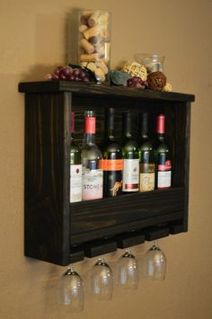 Rustic Reclaimed Wood 6 bottle Wine Rack Shelf with 4 glass holder