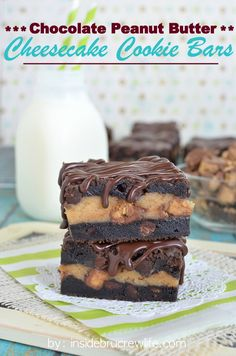 Chocolate Peanut Butter Cheesecake Cookie Bars by Inside Brucrew Life. Chocolate Peanut Butter Cheesecake Cookie Bars - dark chocolate cookie bars with a peanut butter cheesecake center made with Reese's peanut butter cups