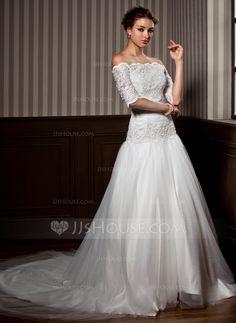 A-Line/Princess Strapless Chapel Train Satin Tulle Wedding Dress With Ruffle Lace Beading (002012172) - JJsHouse - $188