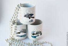 Купить Чашка, кружка Новогодняя, к Новому году - голубой, белый, зимний пейзаж, подарок на новый год