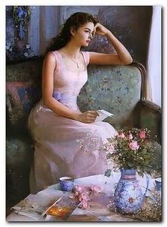 Raindrops and Roses Romantic Paintings, Beautiful Paintings, Woman Painting, Figure Painting, Painting Art, Art Triste, Renaissance Kunst, Beauty In Art, Painted Ladies