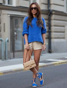 cobalt blue sweater with chic shorts and espadrilles