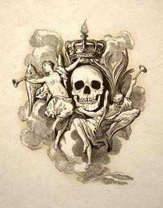 ☆ Skull Crown By Angels Gothic Macabre Art Print Memento Mori :→: Etsy Shop: TigerHouseArt ☆