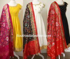 Raw Silk Anarkali's with Ikat Dupattas, anarkali with ikkat silk dupatta, ikat chunni Dress Indian Style, Indian Outfits, Indian Clothes, Indian Wear, Long Gown Dress, Long Frock, Ikkat Dresses, Long Dress Design, Indian Designer Suits