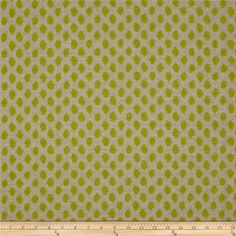 Lacefield Sahara Dot Honeydew from @fabricdotcom  Screen printed on textured cotton (similar to bark cloth), this versatile medium/heavyweight fabric is perfect for window treatments (draperies, valances, curtains and swags), accent pillows, duvet covers and upholstering furniture, headboards, ottomans and poufs. Colors include honeydew and oatmeal.