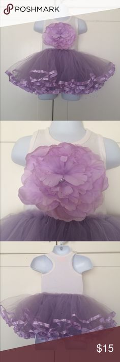 MUD PIE Baby TuTu Dress EUC! Lavender & white. Big fabric flower. 3 layers of tulle. 0-6 mo Mud Pie Dresses Casual