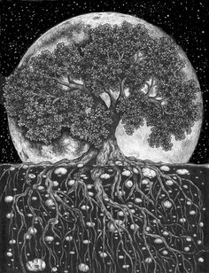 "Above and Below - a modified version of the ballpoint pen drawing ""The World Beneath"". Added the moon and stars, and then scanned it into the computer. A bit of photoshop added to fix the stars. Tedd Vallance"