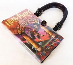 Harry Potter and the Sorcerer's Stone Recycled Book Purse - Harry Potter Book Cover Handbag - American Handmade Book Clutch Book Clutch, Book Purse, Harry Potter Book Covers, Elastic Ribbon, The Sorcerer's Stone, Literary Gifts, Book Corners, Wooden Handles, A Team