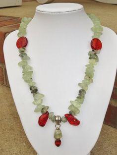 Prehnite, Citrine and Red Amber Silver Plated Pendant Necklace | evezbeadz - Jewelry on ArtFire