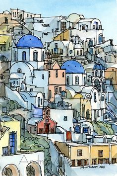 Santorini Oia Greece 12 x 8 art print from an di AndreVoyy su Etsy, $20.00