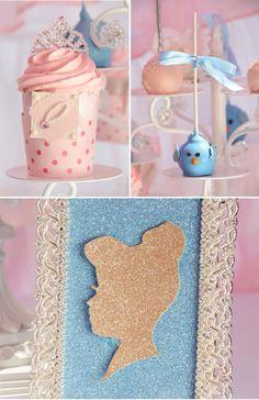 Vintage Cinderella Party Ideas Silueta de goma eva brillante