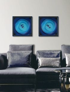 Blue Turquoise 3D Wall Art Abstract String Art by FeniksArtDeco