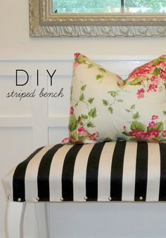 DIY Upholstered Striped Bench (made from a piano bench!) | LiveLoveDIY - interesting tutorial about neat corners, stuffing & glueing edges as well as tacking