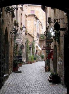 Italy-  Most of the streets look like this with little shops and next door a home.  Great restaurants tucked here and there.  Wine shops with little tables and chairs where people sit in the middle of the day and have a glass of wine on their work break. I will go back one day, soon.