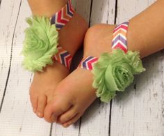 Baby Barefoot Sandals... Pink Green Aztec by TinyTulipBoutique, $6.00