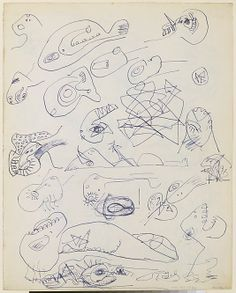 "Untitled (Sheet of Studies) - 1939-42 - Ink  and colored pencil on paper - H13""XW10-1/4"" - Metropolitan Museum of Art - Copyright PKF/ARS"