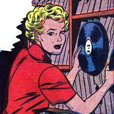Girls gone vinyl. Pop Art Vintage, Images Vintage, Vinyl Record Shop, Vintage Vinyl Records, Record Record, Vinyl Music, Vinyl Art, Vinyl Junkies, Bd Comics