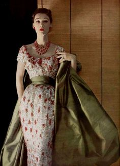 Broderies de corail  L'Officiel #363, 1952  Photographer: Philippe Pottier  Christian Dior, Spring 1952 Couture