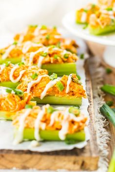 Buffalo chicken celery sticks are loaded up with spicy chicken and then covered in ranch dressing for the perfect party snack or Super Bowl appetizer!