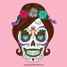 Today is The Day of the Dead! It is a Mexican holiday celebrated throughout Mexico. Today signifies remembering friends and family members who have passed. Sugar Skull Tattoos, Sugar Skull Art, Sugar Skulls, Crane, Mexico Wallpaper, Skull Wallpaper, Desenho Tattoo, Candy Skulls, Color Vector