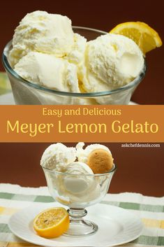 You'll love the creamy texture and tart flavor of my Meyer lemon gelato. The recipe is easily made in a standard ice cream maker. Gelato Ice Cream, Lemon Ice Cream, Yummy Ice Cream, Homemade Ice Cream, Ice Cream Maker, Lemon Gelato Recipes, Meyer Lemon Recipes, Sherbet Recipes, Italian Gelato Recipe